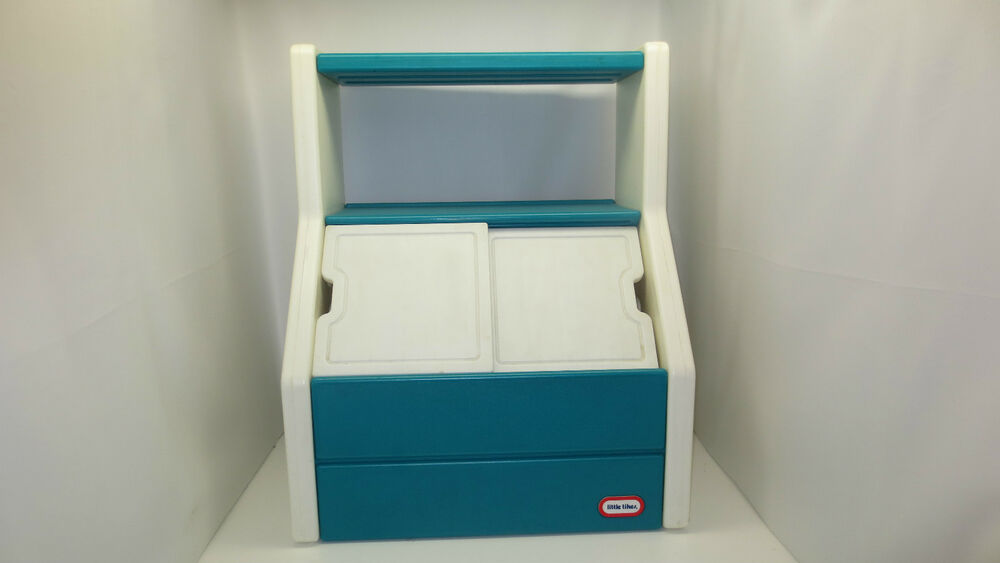 Little Tikes Blue Aqua Turquoise Large Toy Box Chest Book | eBay