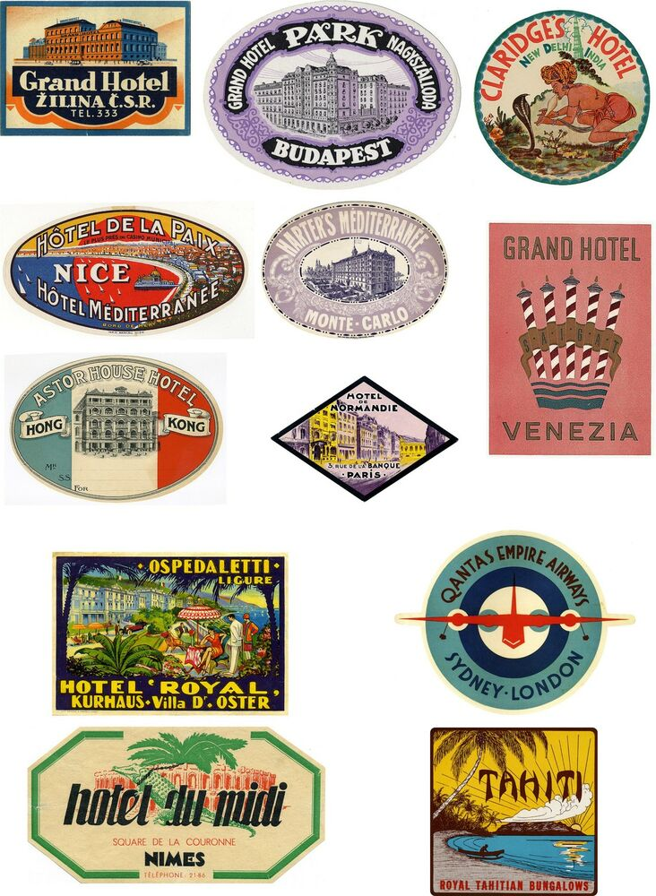 Vintage Style Travel Suitcase Luggage Labels Set Of 12 ...