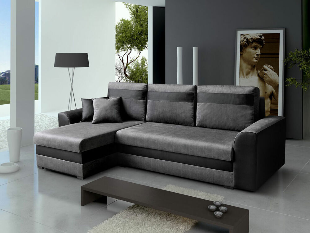 modern ecksofa picollo mit zwei bettkasen sofa eckcouch couchgarnitur couch ebay. Black Bedroom Furniture Sets. Home Design Ideas