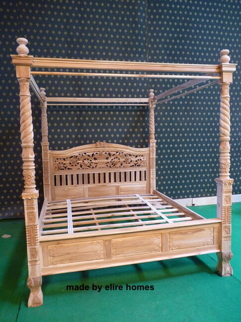 Teak super king reproduction natural rustic four poster for Four poster wooden beds