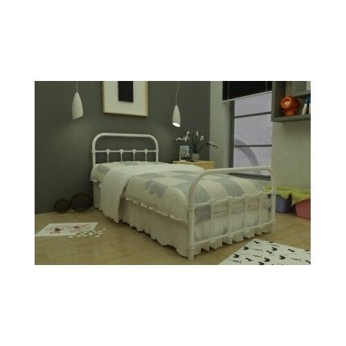 Antique White Bed Twin Metal Frame Victorian Bedroom Steel