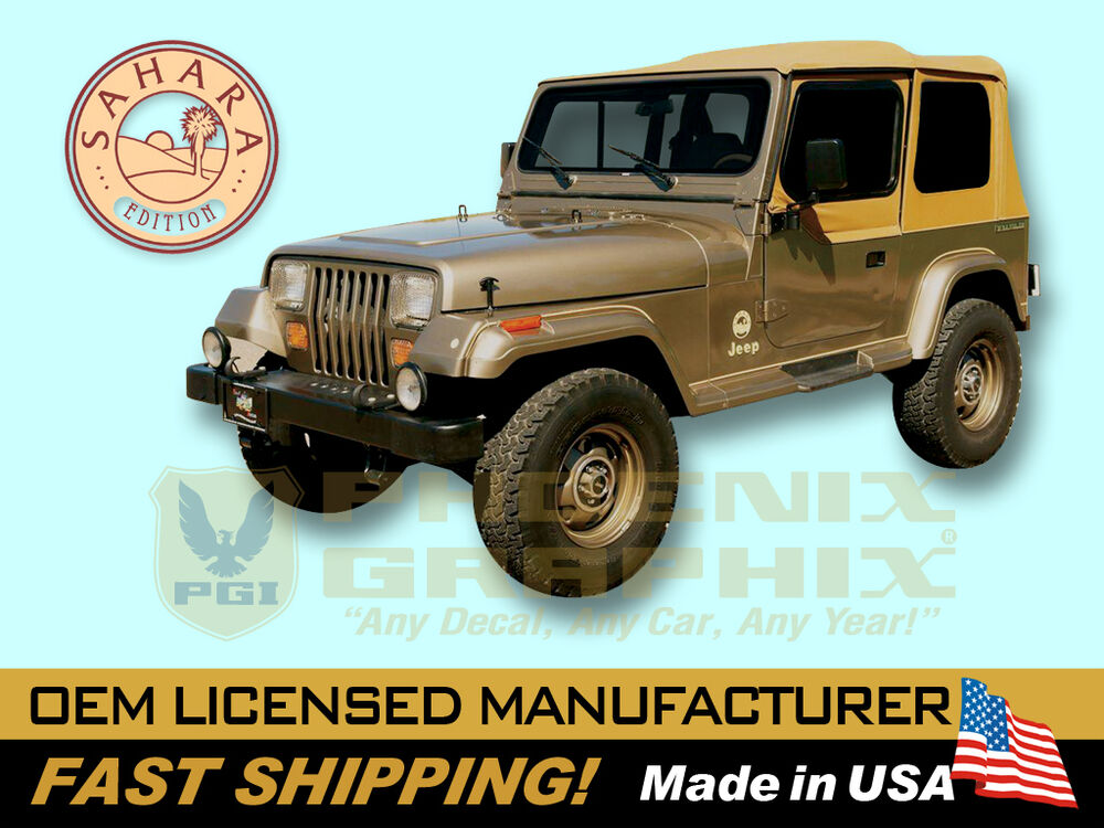 1988 1989 1990 1991 Jeep Wrangler Sahara Edition Yj Decals