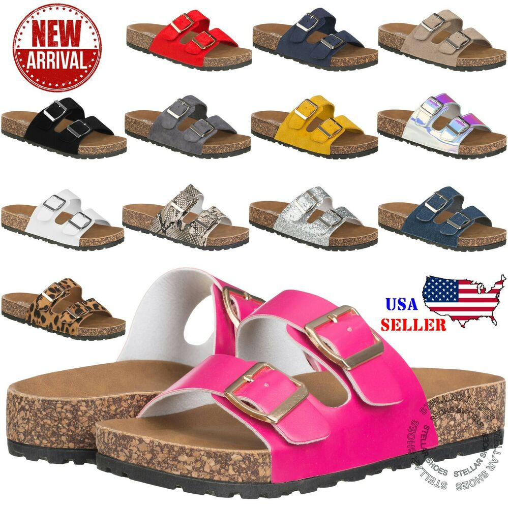 New Womens Slide Buckle T-Strap Cork Footbed Platform -8455