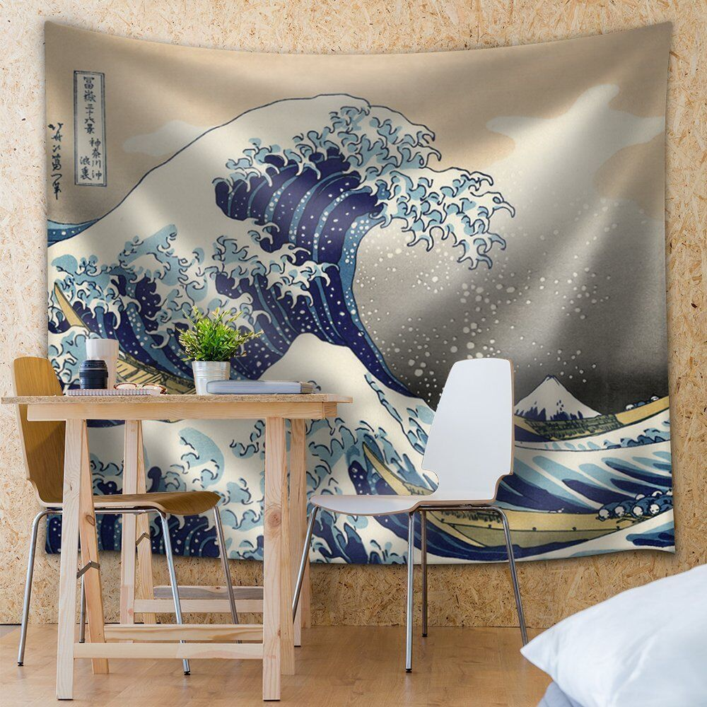 The great wave off kanagawa fabric tapestry home decor for Fabric mural designs