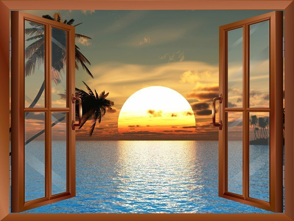 Beach landscape with palm trees at sunset view from inside a window 24 x32 ebay for Beach view wall mural