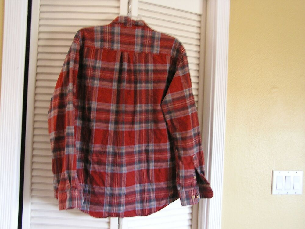 Izod Jeans Rust Red Blue Plaid 100 Cotton Flannel Shirt