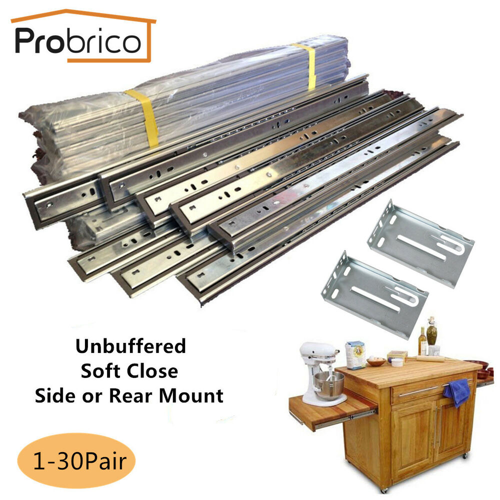 Details About Full Extension Cabinet Drawer Slides Ball Bearing Soft Close/Unbuffered  100lb