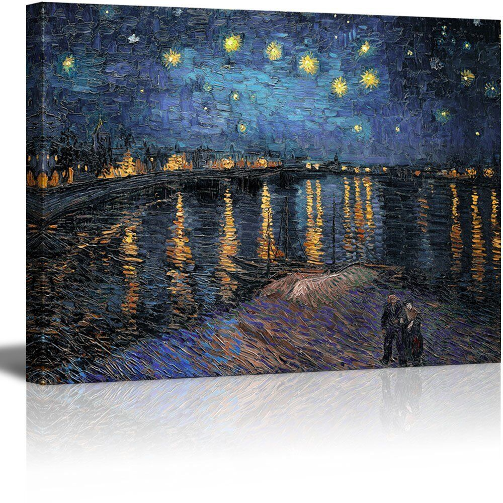 wall26 canvas print starry night over the rhone by. Black Bedroom Furniture Sets. Home Design Ideas