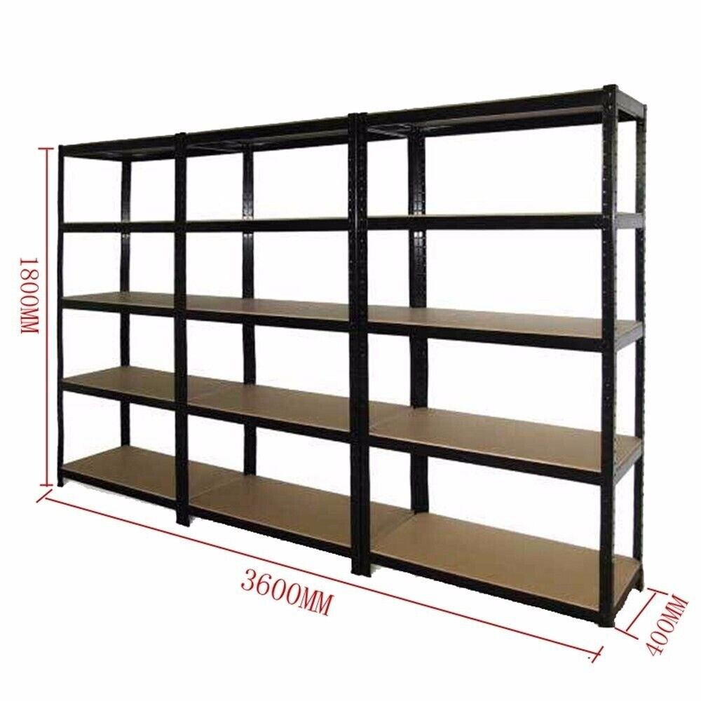 3x 1 2m Black Steel Warehouse Racking Storage Rack Shelf