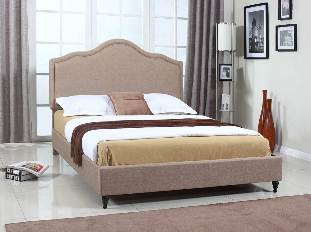 Light brown upholstered linen platform bed frame slats for Upholstered bed frame