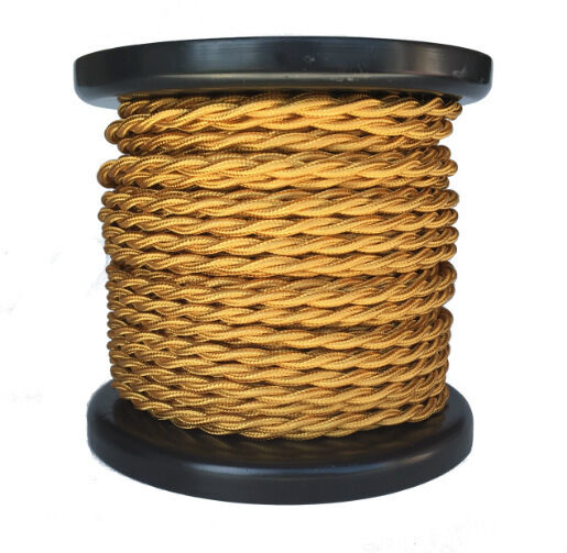 gold twisted rayon covered wire antique style cloth lamp cord ebay. Black Bedroom Furniture Sets. Home Design Ideas