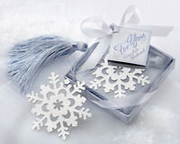 120 Silver Metal Snowflake Bookmark Winter Wedding Favors in Ice Blue Gift Box