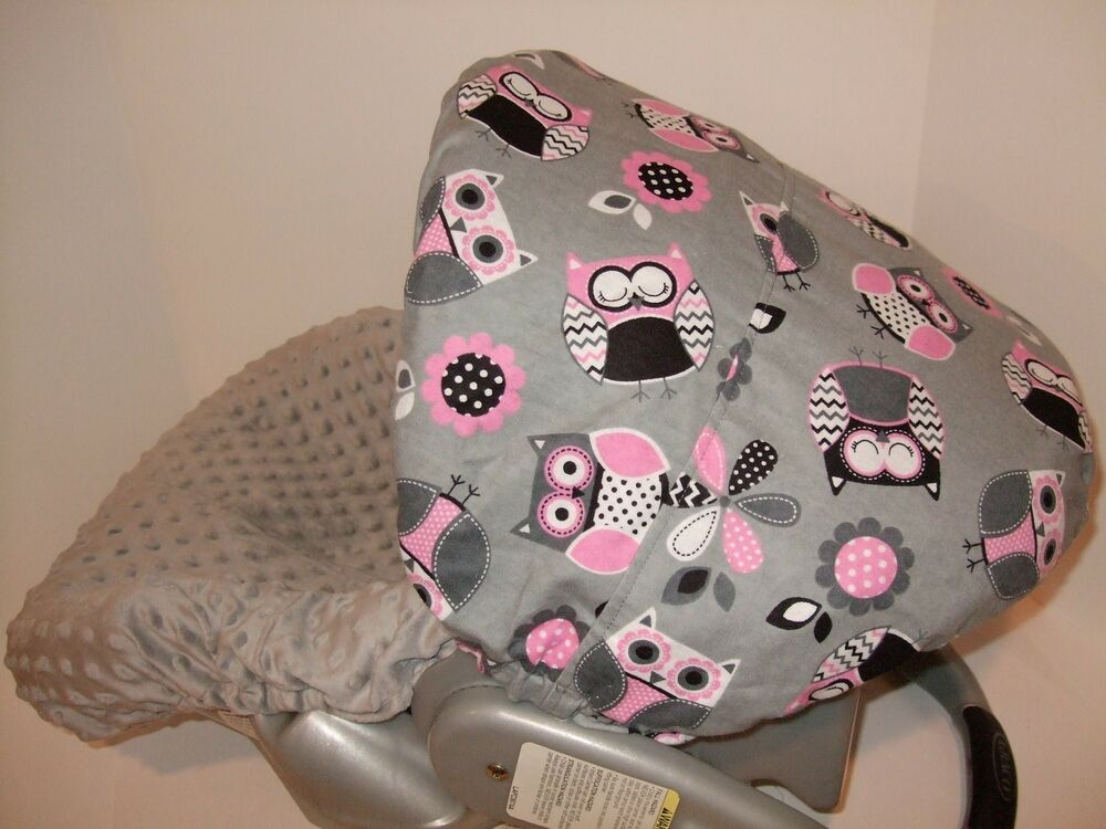 cutie owls minky infant car seat slip cover graco fit custom sizes available ebay. Black Bedroom Furniture Sets. Home Design Ideas