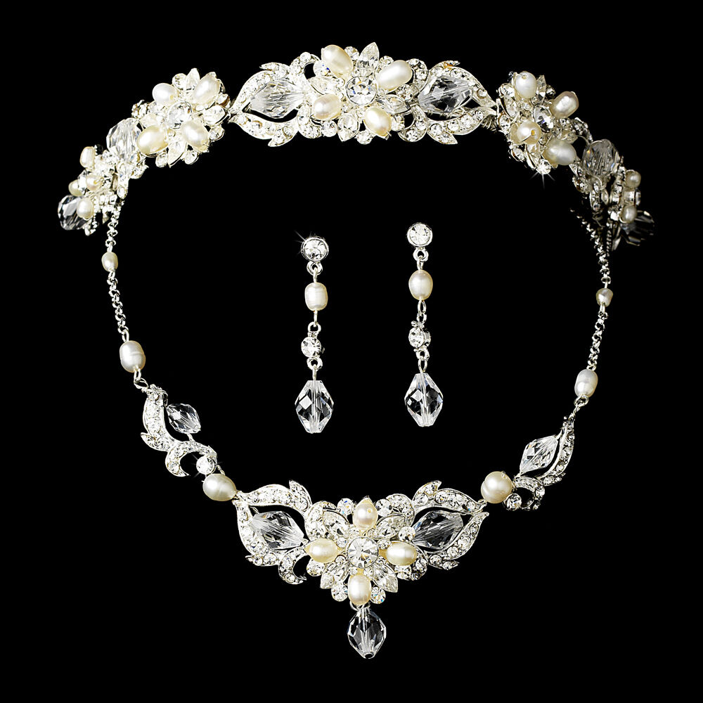 Crystalline Silvers: Silver Or Gold Swarovski Crystal Freshwater Pearl Tiara