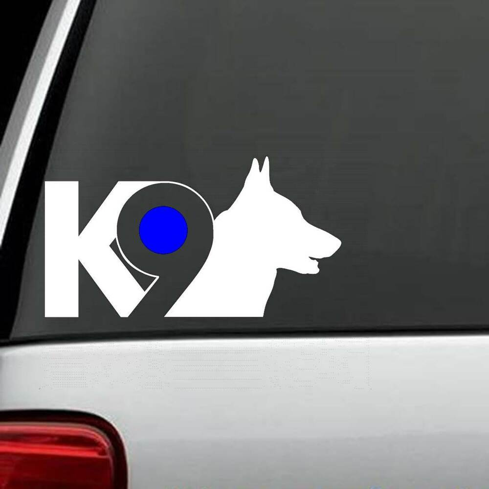 Details about b1128 k9 german shepherd police dog decal sticker with reflective blue dot