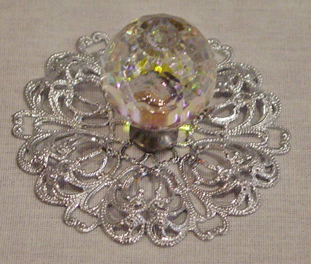 Crystal Pearlescent Drawer Pulls With Silver Tone Filigree