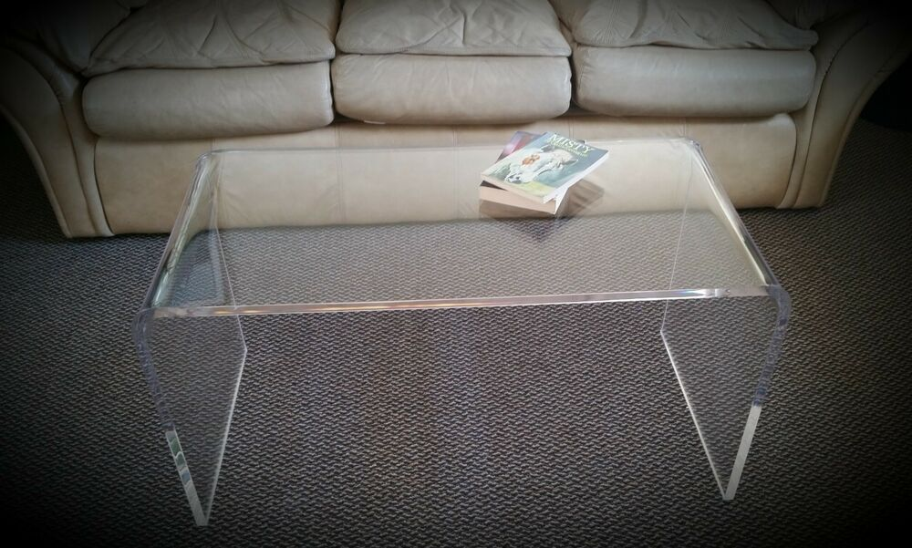"Clear Acrylic Lucite ""Kira"" Waterfall Style Coffee Table  eBay"