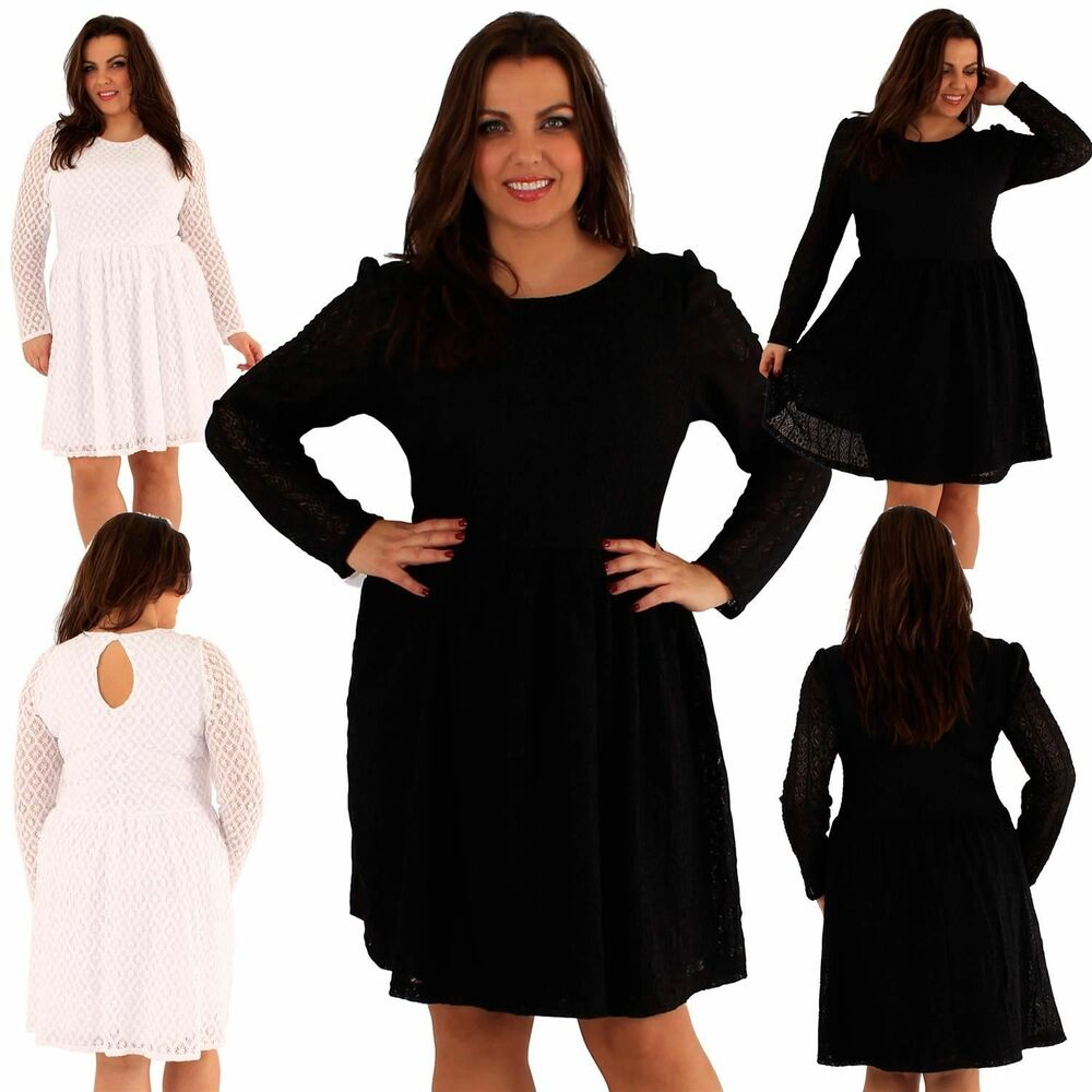 74f747a11b7 New Womens plus size lace Lined Full Sleeve Party Skater Dress 18-24 ...