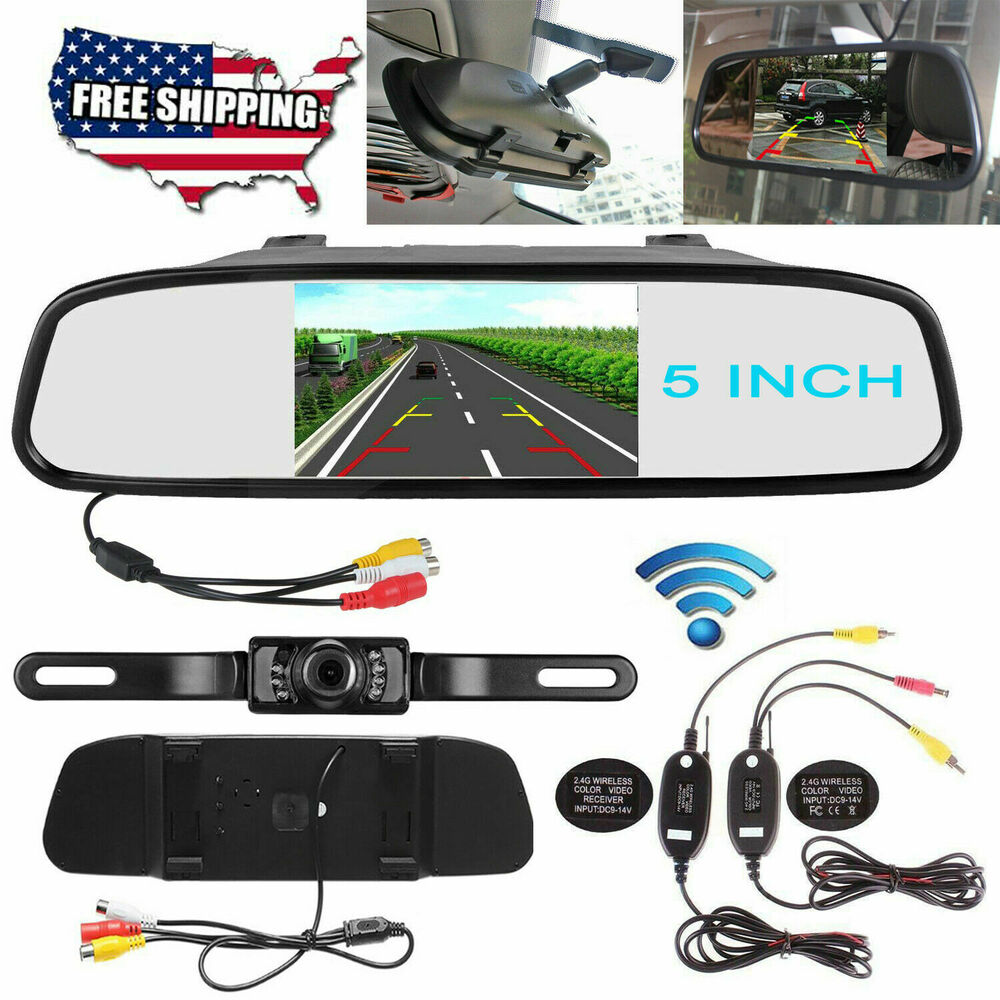 4 3 lcd car rear view mirror monitor wireless night vision backup reverse camera ebay. Black Bedroom Furniture Sets. Home Design Ideas