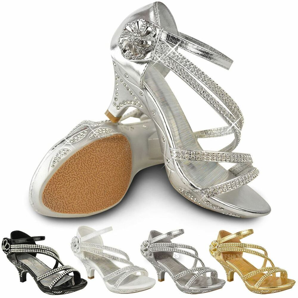 New Girls Kids Low Heel Wedding Diamante Sandals ...