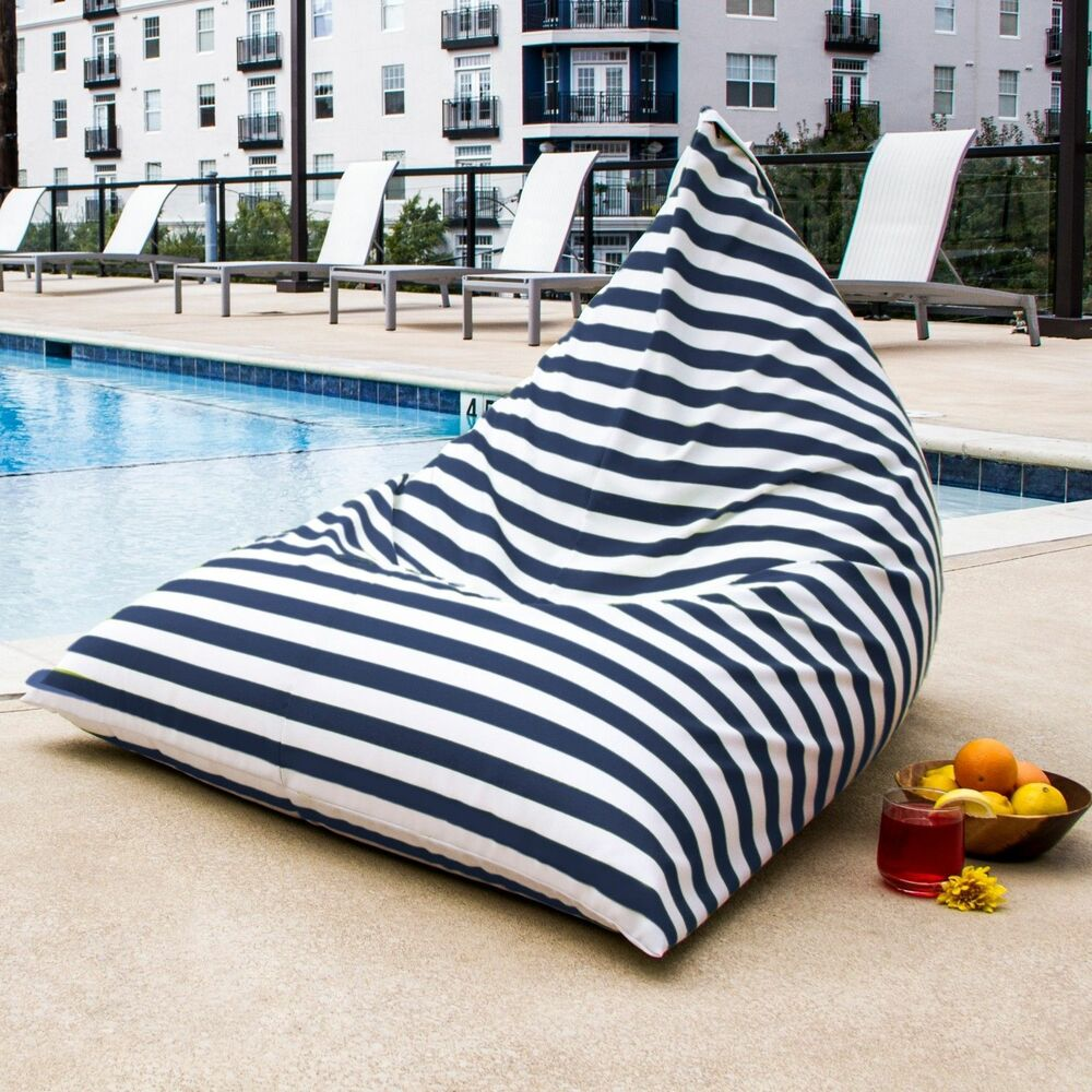 Details About Ja Twist Outdoor Bean Bag Lounge Chair Navy Striped