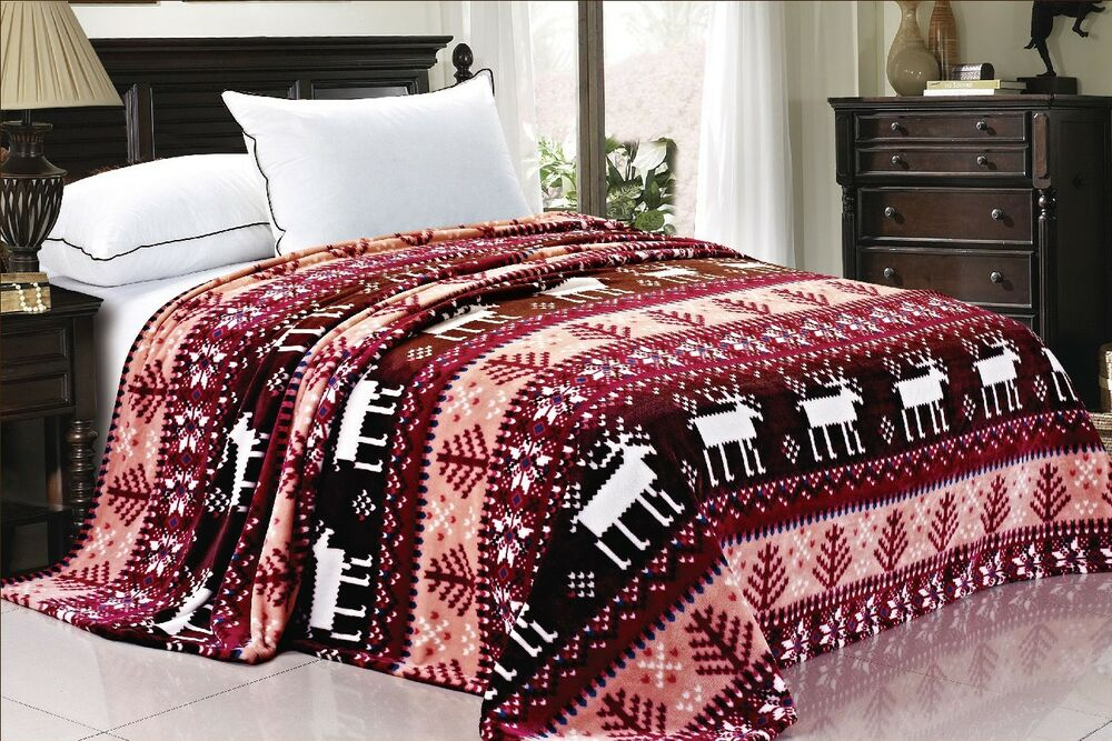 Boon christmas winter snowflake cabin deer flannel bed for Winter cabin bedding