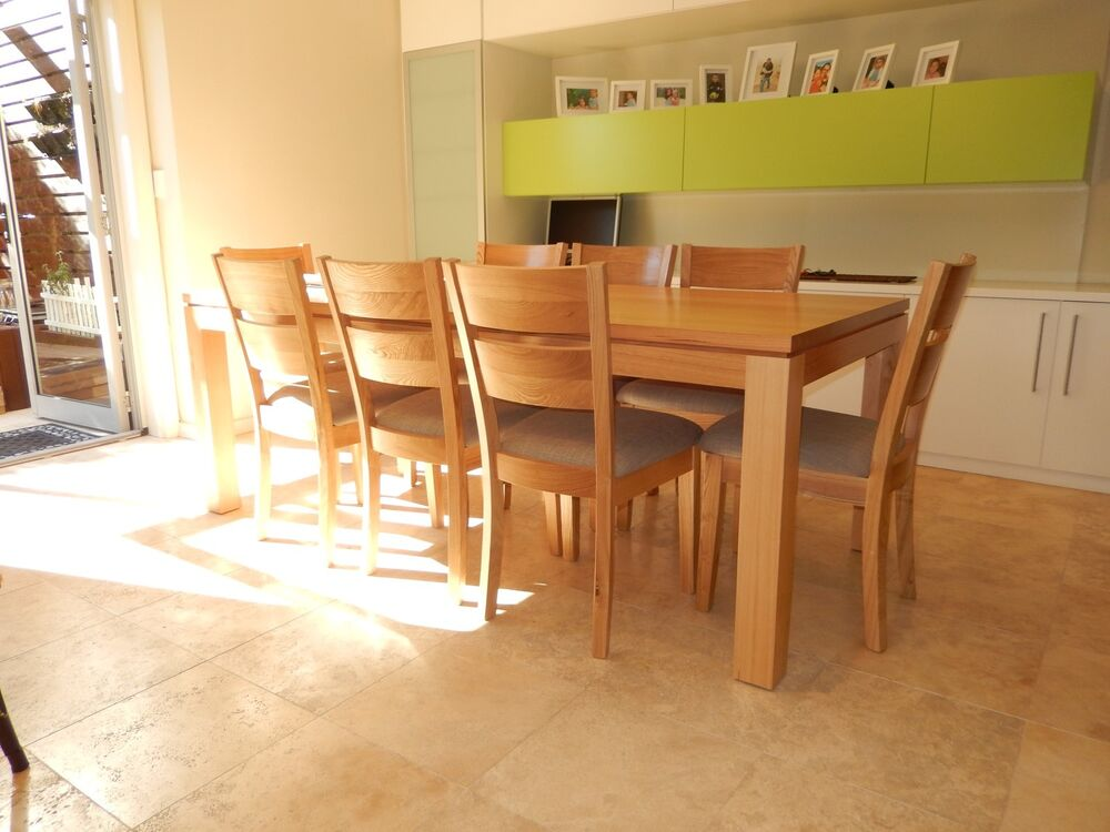 made solid tasmanian oak 9 pieces veromont dining table set ebay