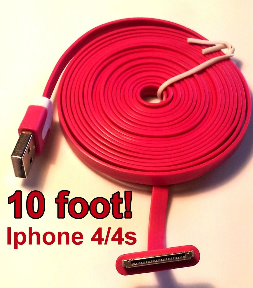 10 foot long iphone 4 4s ipod charging cable cord new pick your color ebay. Black Bedroom Furniture Sets. Home Design Ideas