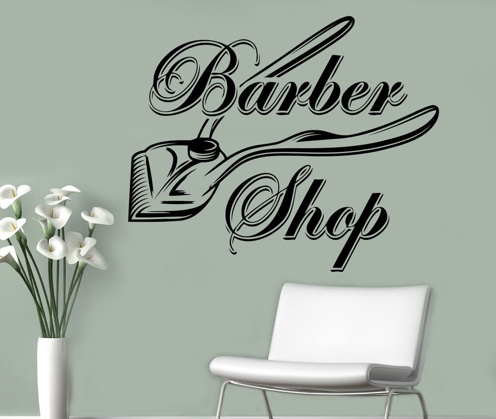 barbershop wall vinyl decal hair salon emblem vinyl sticker window stickers 15 ebay. Black Bedroom Furniture Sets. Home Design Ideas