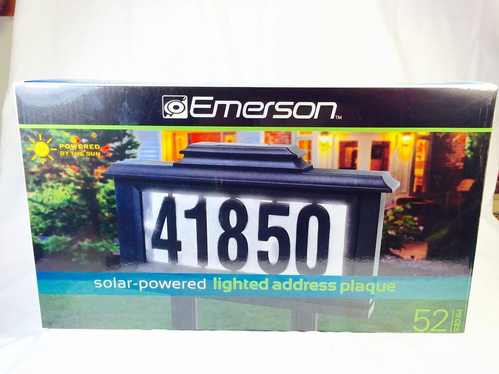 led solar lighted address sign plaque house home number. Black Bedroom Furniture Sets. Home Design Ideas