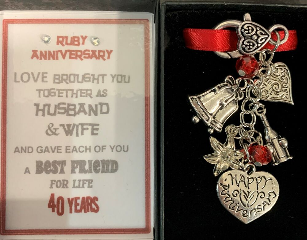 What Gift For 40th Wedding Anniversary: Happy 40th Ruby Wedding Anniversary Gift Keyring Keepsake