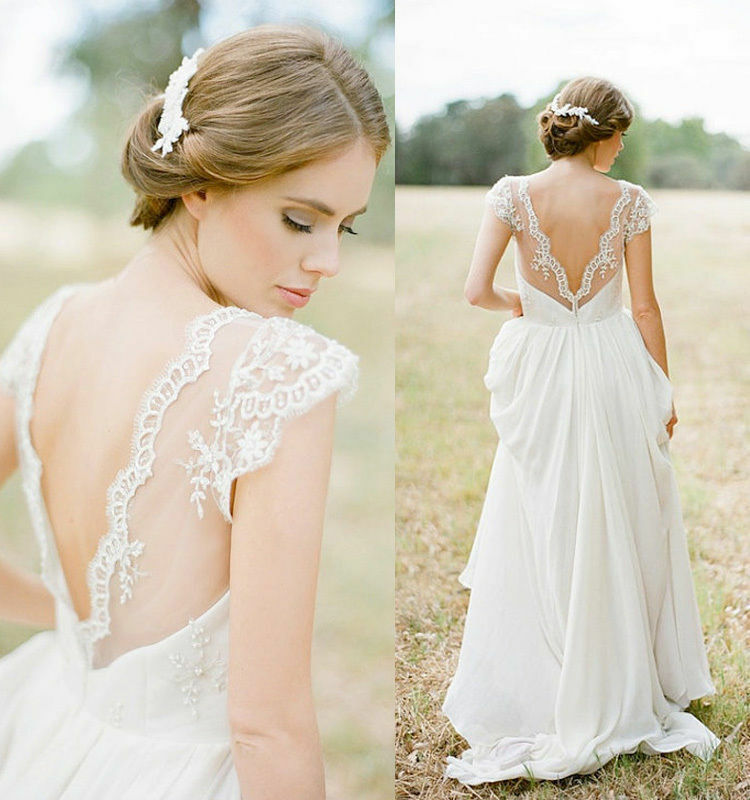 Wedding Gowns With Cap Sleeves: White/Ivory Cap Sleeve Wedding Dress Bohemian Bride Beach