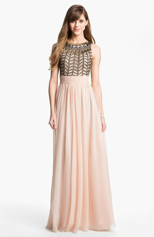Nwt Js Collections Embellished Chiffon Gown Rose Pink Sz