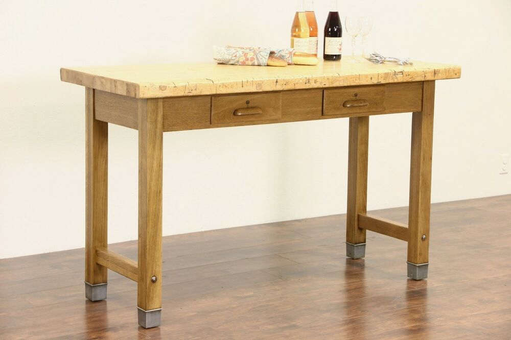 Oak Butcher Block Kitchen Island : Kitchen Island, Industrial Lab Work Table, 1920's Butcher Block & Oak Base eBay