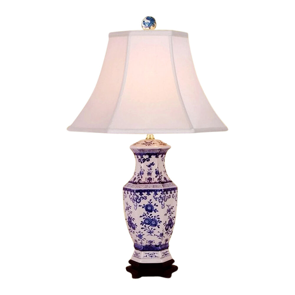 chinese blue and white porcelain floral hexagonal vase table lamp 26. Black Bedroom Furniture Sets. Home Design Ideas