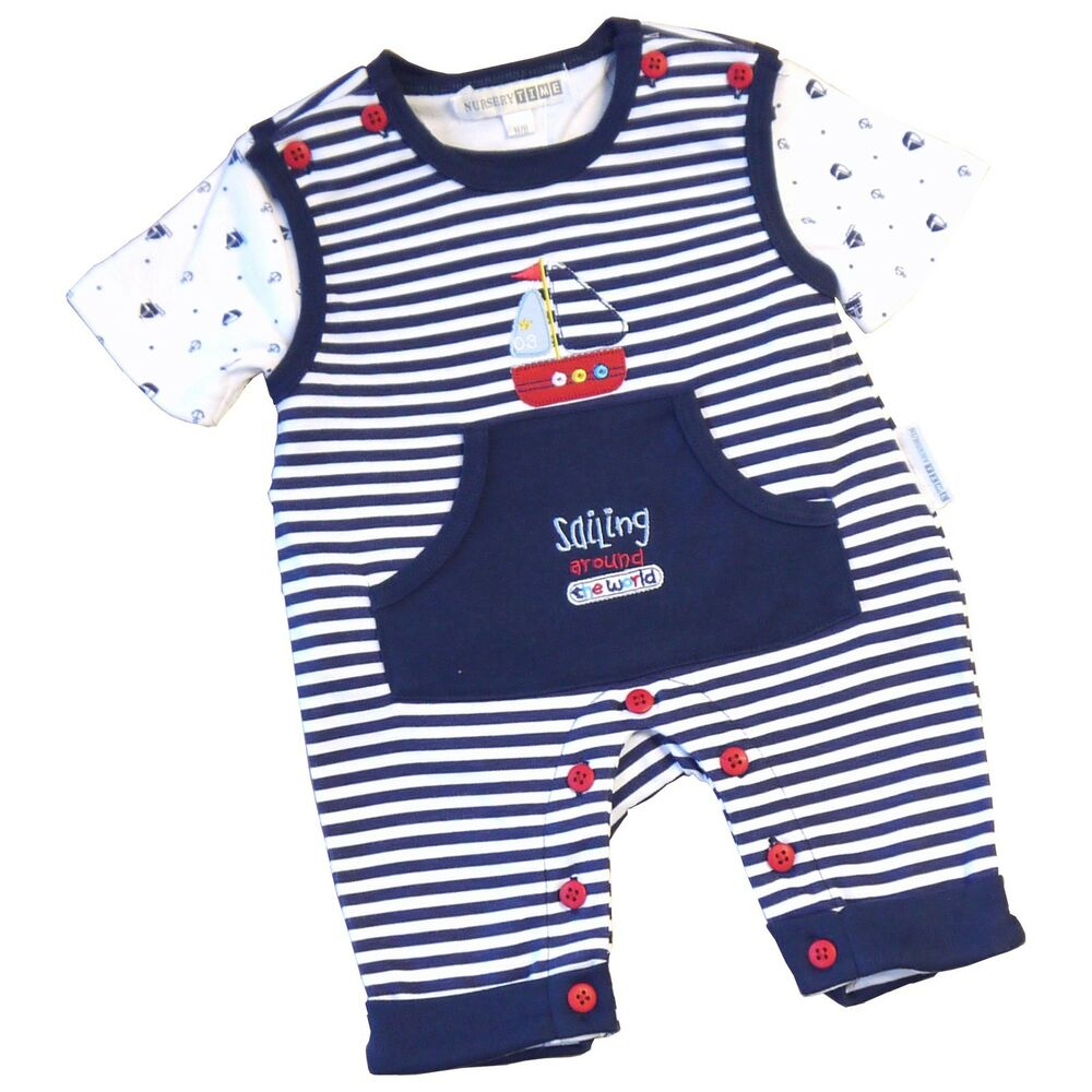 BabyPrem Baby Clothes Boys Navy Nautical Romper Playsuit