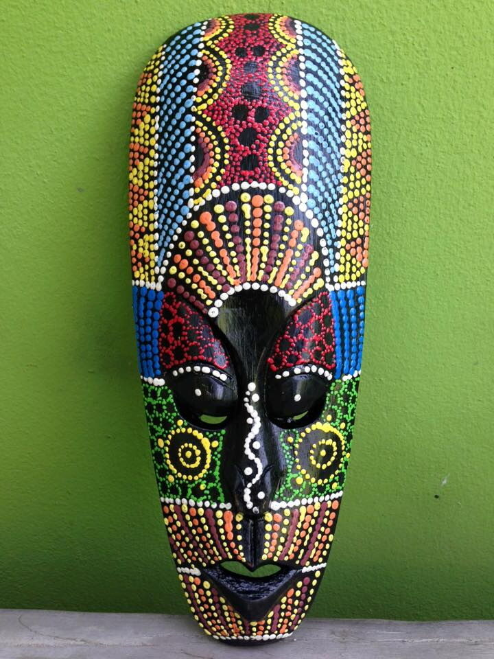 Aboriginal Tribal African Mask Decor Carved Dot Art Home