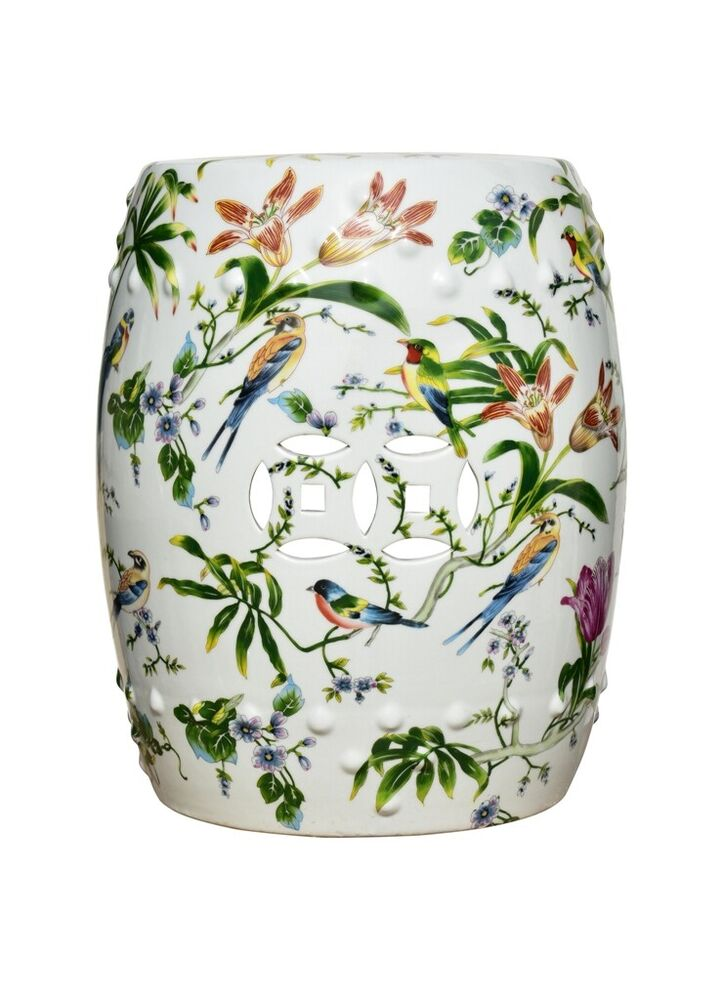 Chinese Multi Color Porcelain Bird Motif Round Garden