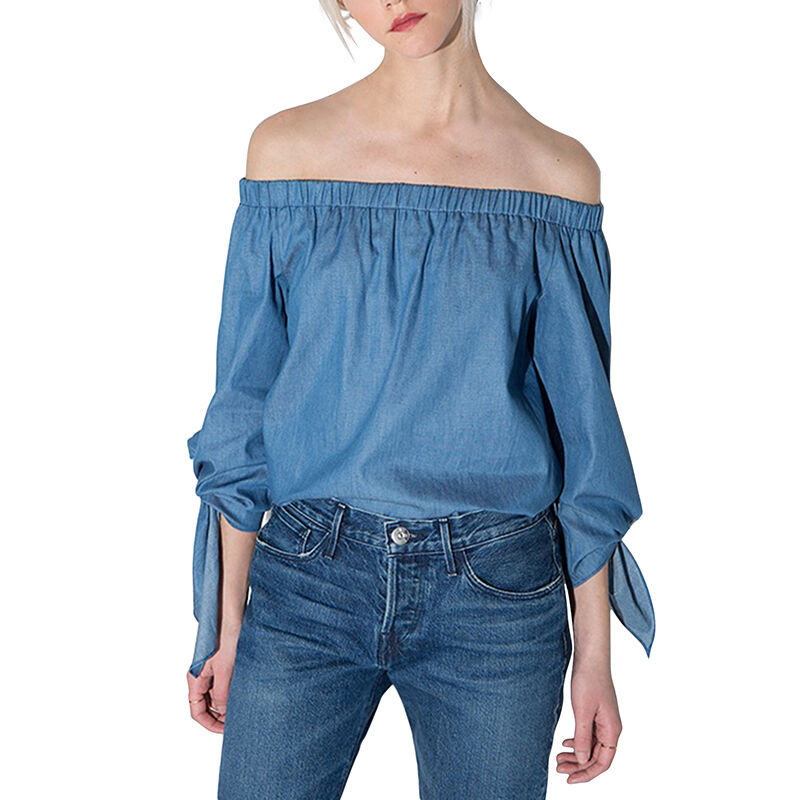 Women Vintage Off Shoulder Tops Casual Party Jeans Shirt Cotton Denim Blouse | eBay