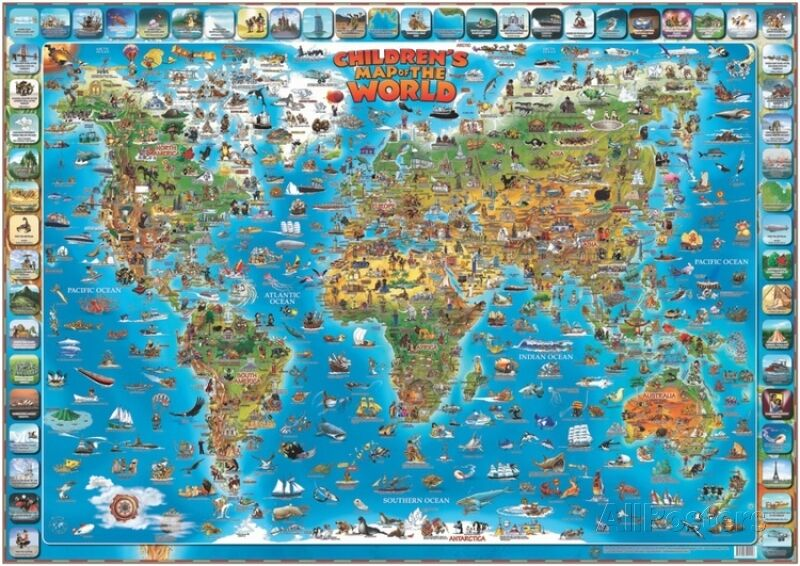 childrens map   world educational poster laminated