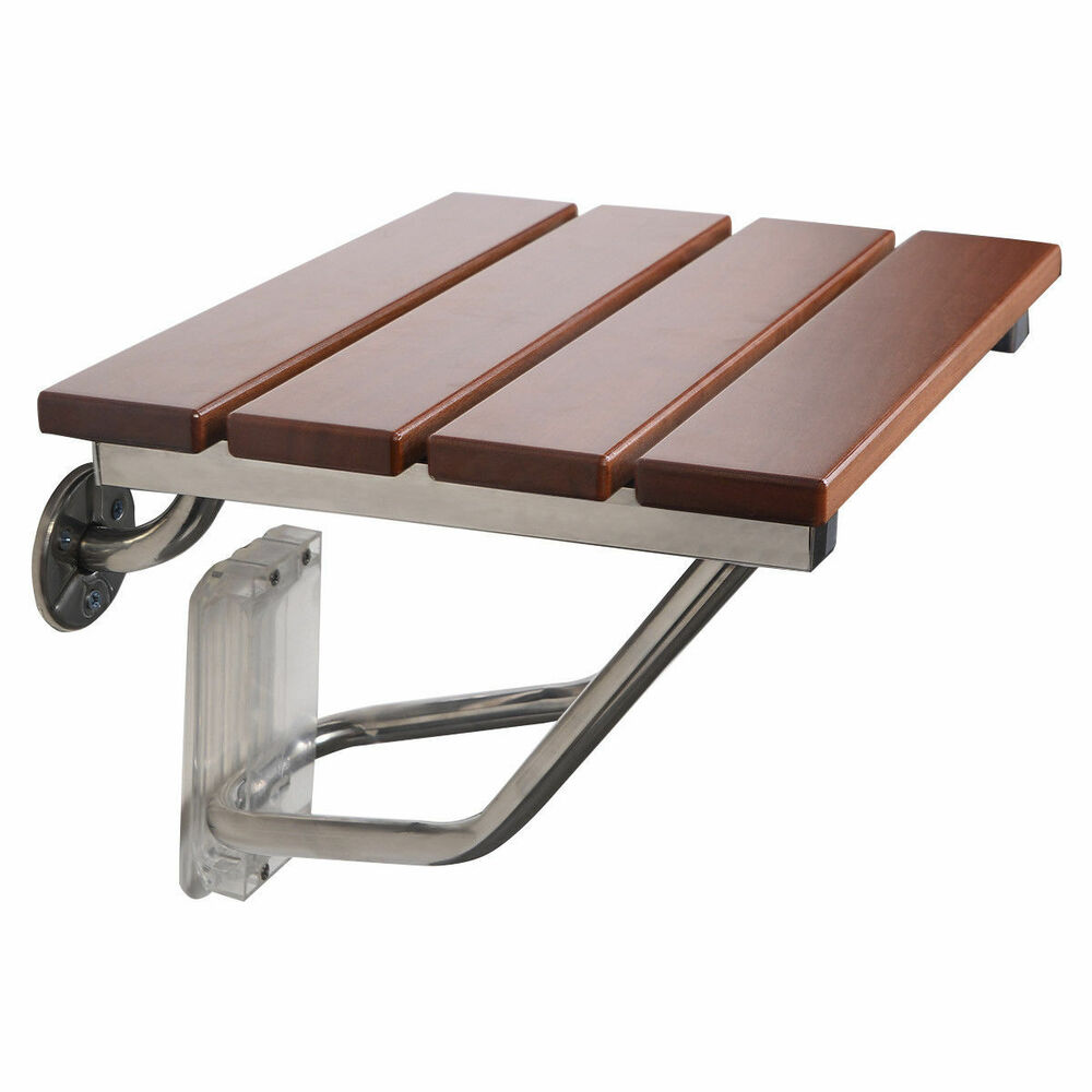 New Folding Bath Seat Bench Shower Chair Wall Mount Solid Wood Construction Ebay