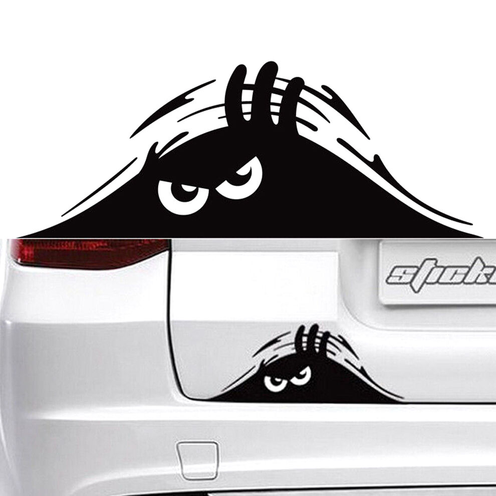 Funny peeking monster cute eyes for jdm car bumper window Getting stickers off glass