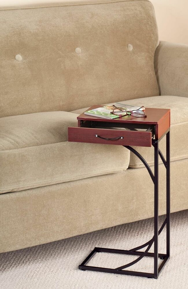 Side Sofa End Table Wood Desk Tv Computer Coffee Tray