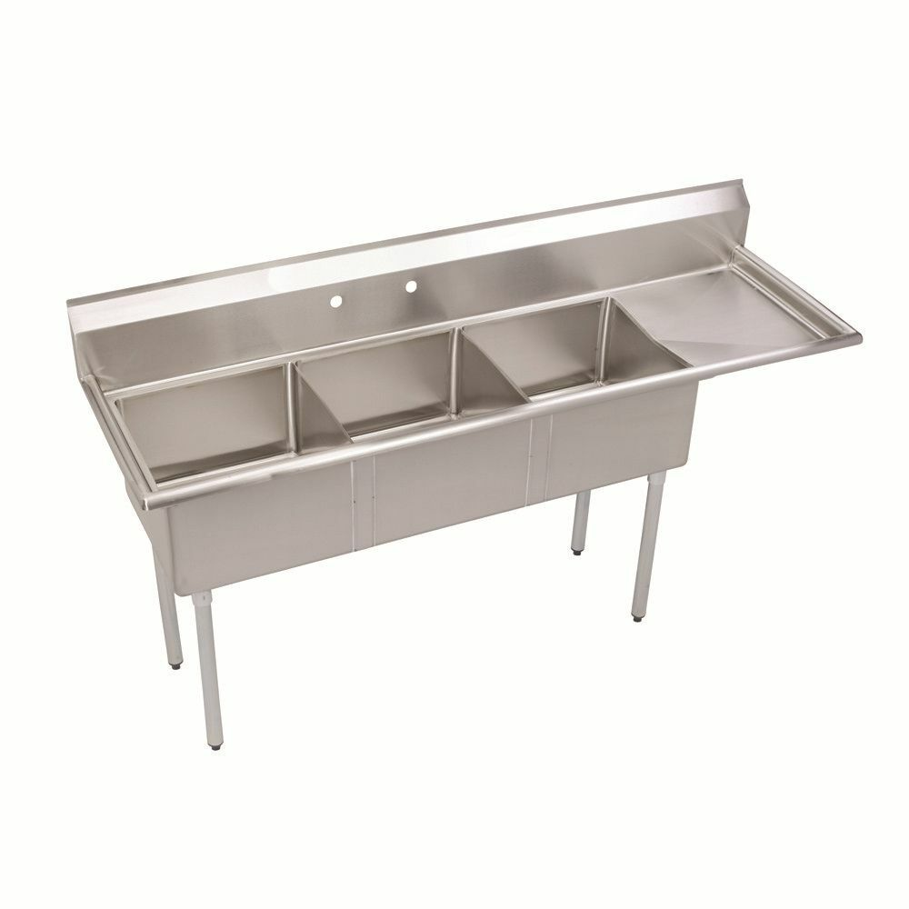 3 Three Compartment Commercial Stainless Steel Sink 44 5 X 20 G Ebay