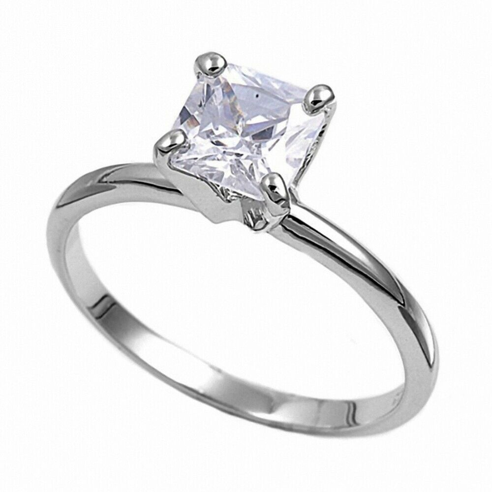 solitaire wedding engagement ring sterling silver 3ct russian cz ebay. Black Bedroom Furniture Sets. Home Design Ideas
