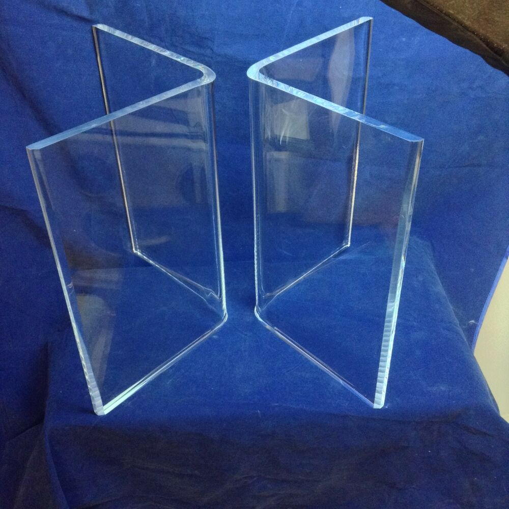 "Clear Acrylic Lucite 1"" Thick V"" Shaped Dining Table Bases"