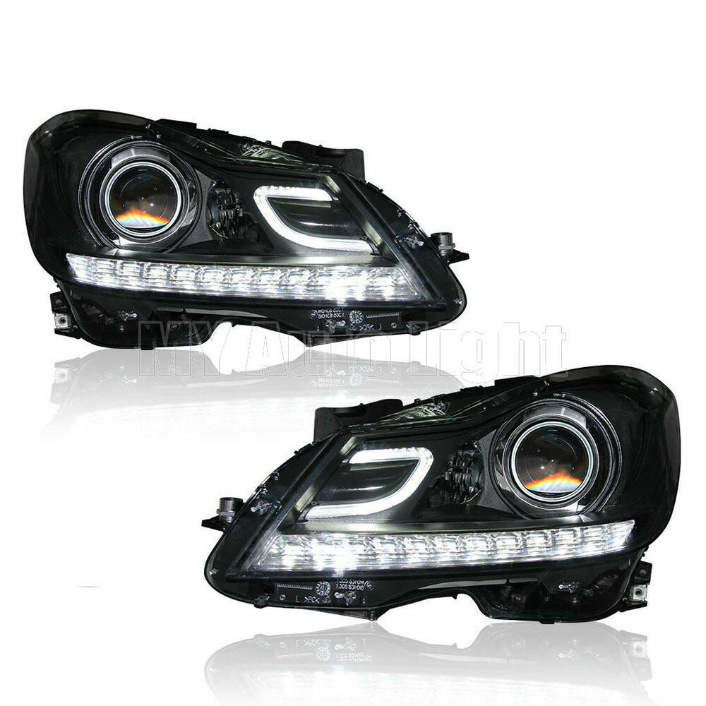 For 2011 2014 Mercedes Benz W204 C63 Amg Headlights Led Drl Bi Xenon Projector Ebay