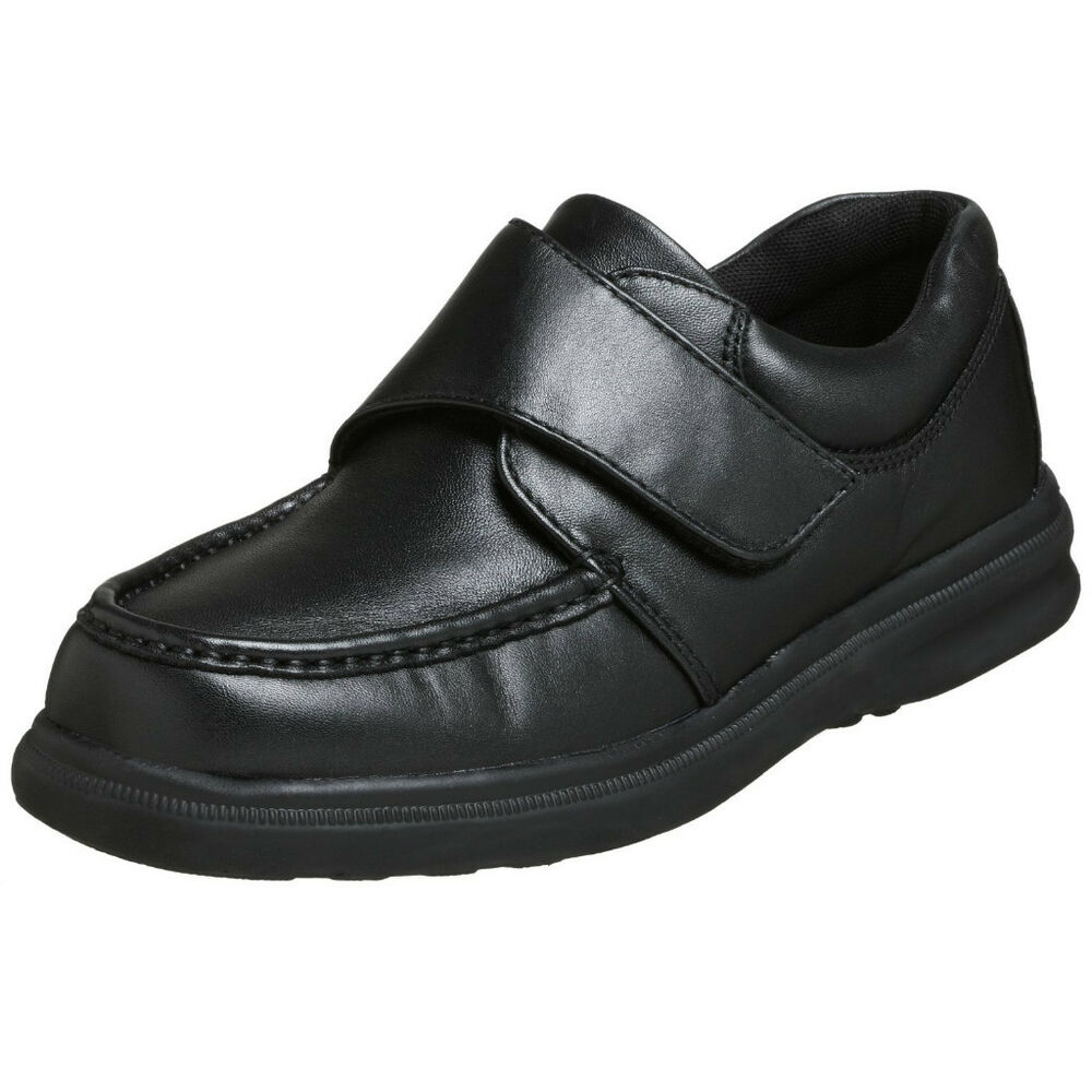 hush puppies gil mens black leather comfort dress