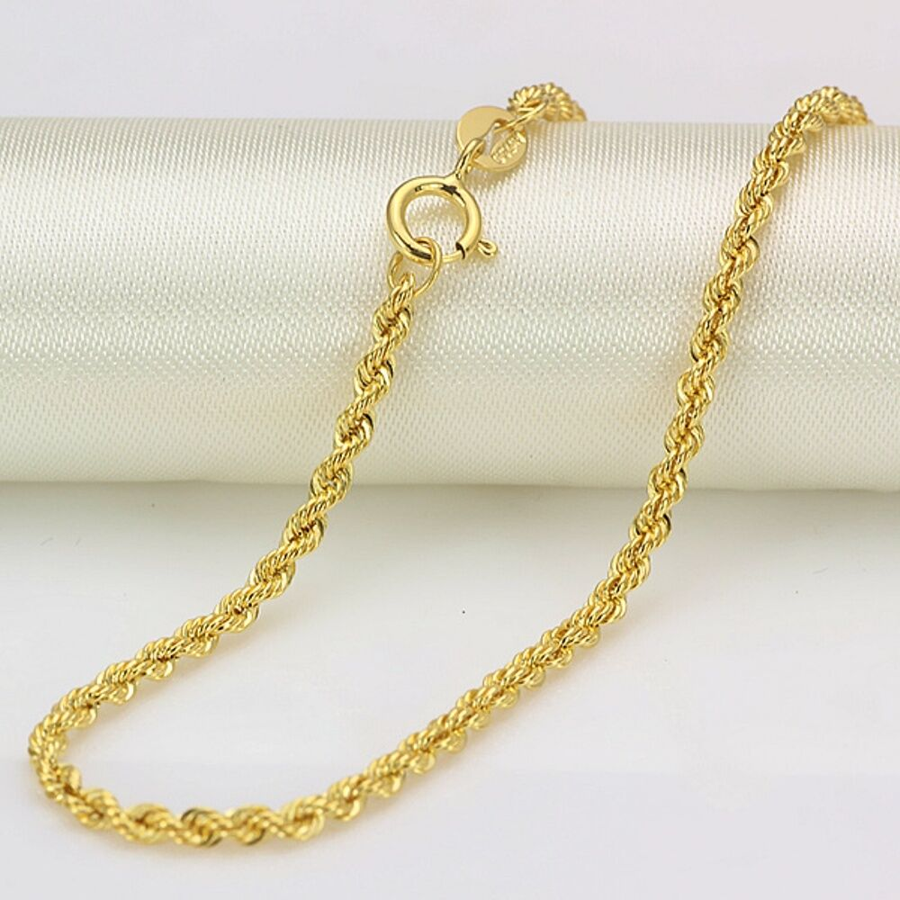 20 inch authentic 18k rope gold necklace 2mm cable link. Black Bedroom Furniture Sets. Home Design Ideas