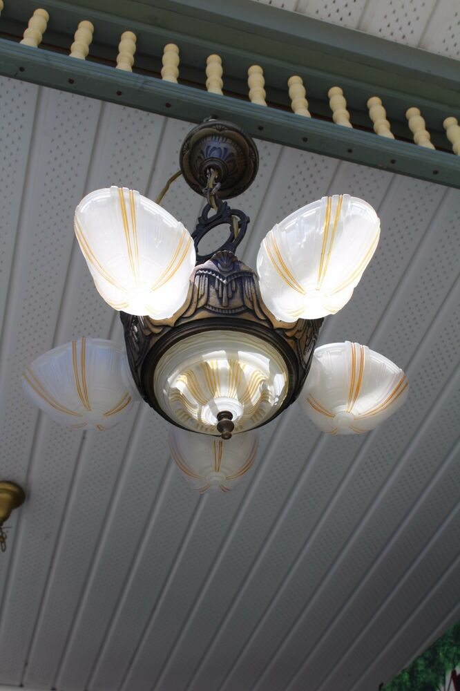 Antique Art Deco Slip Shade Ceiling Light Fixture